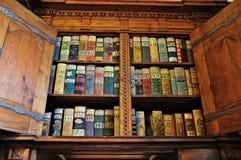 Medieval Bookshelf. Old books on a medieval bookshelf in Prague Castle Royalty Free Stock Image