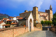 Medieval Bormida monastery and castle in regione Asti in Piemont Royalty Free Stock Photos