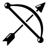 Medieval bow and arrow icon, simple style Stock Photos