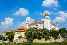 Medieval Bratislava castle on the hill against the blue sky Royalty Free Stock Images