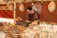 Medieval Bread stall at market. Stock Photos