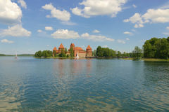 Medieval brick-built castle in Trakai on the lake. Former reside. Nce of Lithuanian princes and former capital of Lithuania. Today a very popular point of all Royalty Free Stock Photos