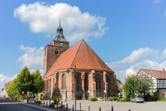 Medieval brick church. Gothic church Sankt Nikolai in Osterburg, Germany in summer with blue sky Royalty Free Stock Photos