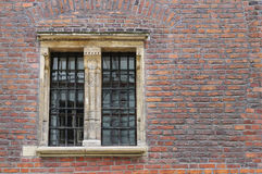 Medieval brick wall with large window Stock Photography