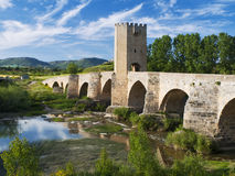 Medieval bridge. At frias of the province of burgos, Spain Stock Photo