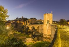 The Medieval Bridge in the ancient town of Besalu. Spain Royalty Free Stock Image
