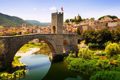Medieval bridge with antique gate Royalty Free Stock Photography