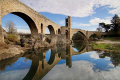 Medieval Bridge of Besalu Stock Image