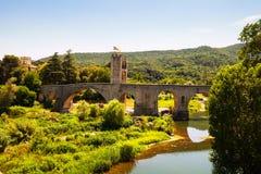 Medieval bridge. Besalu, Royalty Free Stock Photo