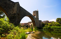 Medieval bridge. Besalu, Catalonia Stock Image