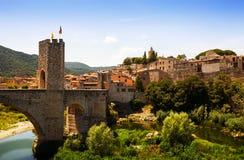 Medieval bridge. Besalu, Catalonia Royalty Free Stock Images