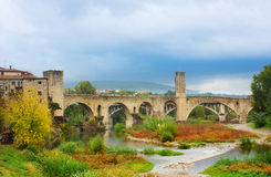 Medieval bridge of Besalu, Catalonia. Spain Royalty Free Stock Image