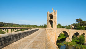 Medieval bridge in Besalu, Spain Stock Photos