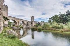 Medieval bridge in Besalu, Spain Royalty Free Stock Images