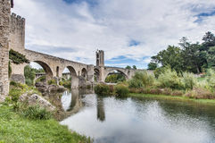 Medieval bridge in Besalu, Spain Royalty Free Stock Photos