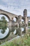 Medieval bridge in Besalu, Spain Royalty Free Stock Photo