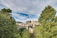 Medieval bridge in Besalu, Spain Royalty Free Stock Image