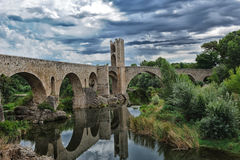 Medieval bridge of Besalu Stock Images