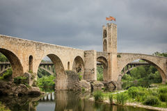 Medieval bridge in Catalonia, Spain Royalty Free Stock Image
