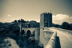 Medieval bridge with city gate Royalty Free Stock Photo