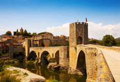 Medieval bridge with city gate Royalty Free Stock Photos