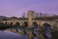 Medieval Bridge at Dusk. Frias, Burgos Spain Stock Photography