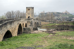 Medieval bridge of Frias in Burgos Stock Image