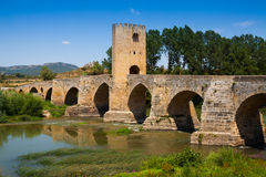 Medieval bridge at Frias. Burgos Royalty Free Stock Photo