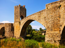 Medieval bridge with gate. Besalu Royalty Free Stock Images