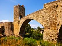 Medieval bridge with gate. Besalu Royalty Free Stock Images