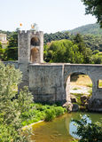 Medieval bridge with gate tower Royalty Free Stock Images