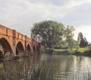 Medieval bridge great barford Stock Photo
