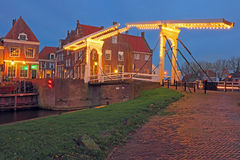 Medieval bridge and houses in the village Enkhuizen The Netherla Stock Photo