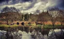 Medieval bridge of Marnel in Agueda royalty free stock photography