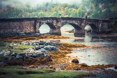 Medieval Bridge. Bridge near Eilean Donan Castle, Highland, Scotland Royalty Free Stock Photo