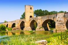 Medieval bridge near Frias. Province of Burgos Stock Photos