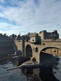 Medieval Bridge and Old Town with Castle Royalty Free Stock Image