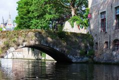 Medieval bridge over canal Stock Images