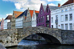 Medieval bridge over canal in Bruges Stock Photography