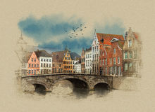 Medieval bridge over canal in Bruges, Belgium. stock illustration