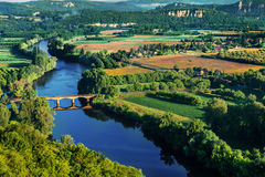 Medieval bridge over the dordogne river Royalty Free Stock Photography