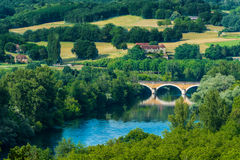 Medieval bridge over the dordogne river Stock Image