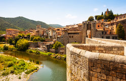 Medieval bridge over Fluvia river in Besalu Stock Images