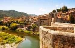 Medieval bridge over Fluvia river in Besalu Stock Images
