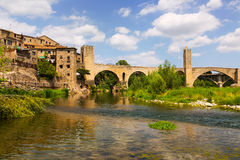 Medieval bridge over river. Besalu Stock Image