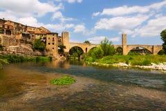 Medieval bridge over river in Besalu Royalty Free Stock Photo