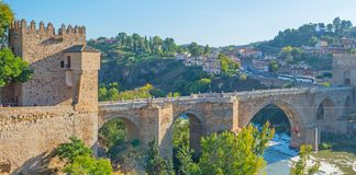 Medieval bridge over the river Tagus in Toledo royalty free stock photography