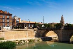 Medieval bridge over Segura river in  Murcia, Spain Royalty Free Stock Photography