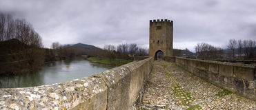 Medieval bridge (panoramic composition) Royalty Free Stock Image