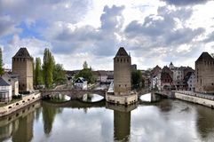 Medieval Bridge Pont Couvert, Strasbourg, France Stock Photos